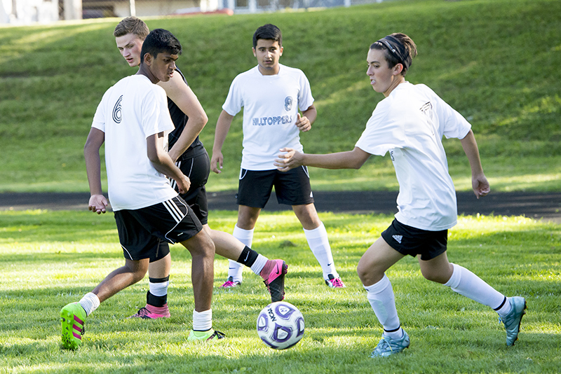 soccer team practicing at independent upper school Streamwood