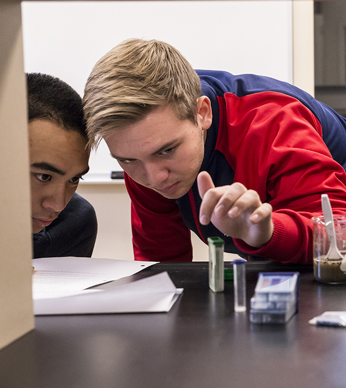 students conducting science project at independent high school Bartlett